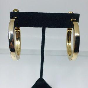 Vintage Napier Gold Tone Screw Back Hoop Earrings